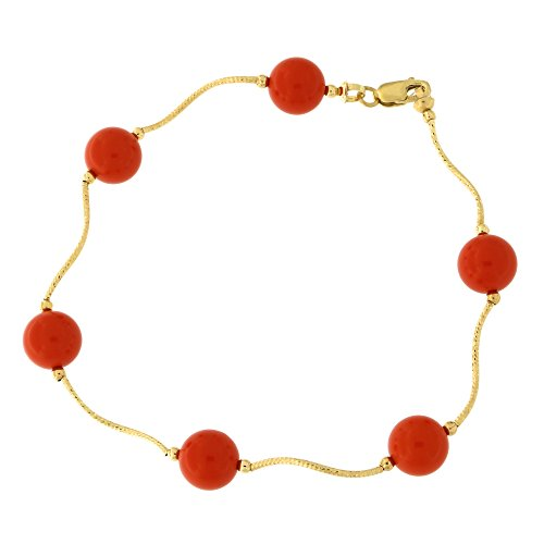 14k Yellow Gold Diamond Cut 8mm Simulated Coral Station Bracelet, 7.5 inches