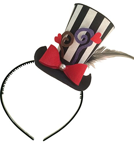 Striped Mini Top Hat Headband Alice in Wonderland Decoration Mad Hatter Tea Party Birthday (Mad Hatter Alice In Wonderland Costume)