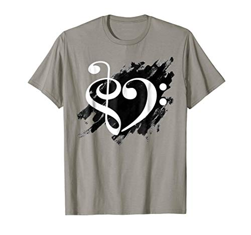 Treble Clef Bass Clef White Musical Heart Grunge Bassist T-Shirt