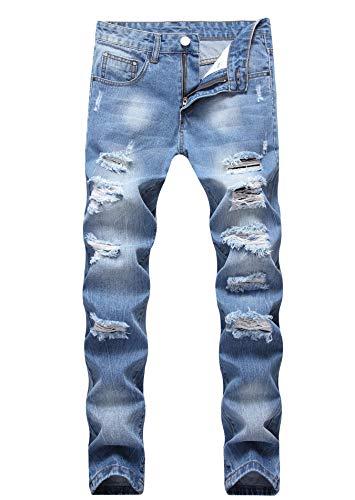 Men's Light Blue Skinny Fit Ripped Destroyed Distressed Stretch Fashion Denim Jeans 405 Blue Skinny Fit Jeans