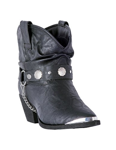 (Dingo Women's Leather Concho Strap Slouch Booties Pointed Toe Black 7 M)