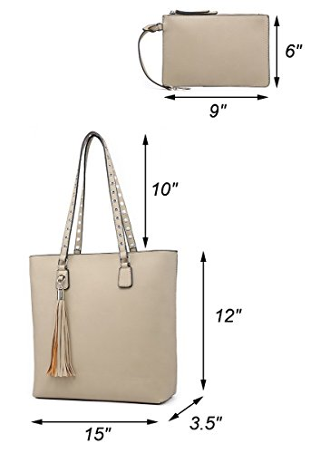 Large Tote Purse Beige Elegant Classic Set Wallets Hobo Chic Medium Tassels Shoulder Handbag Women Bag 0Iafq