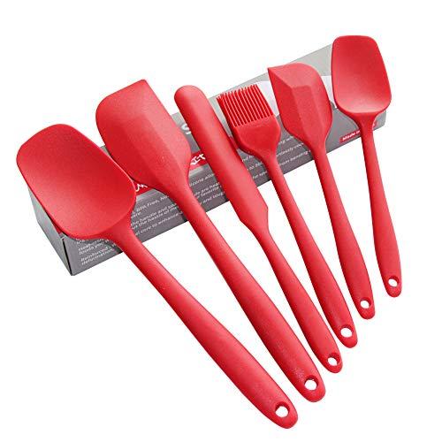 Juego de espátulas de silicona, utensilios para cocinar, hornear, mezclar y utensilios de cocina antiadherentes, sin BPA…