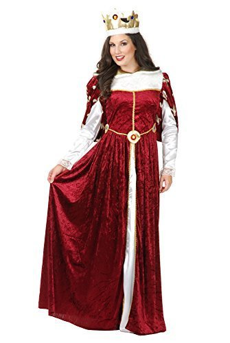 Charades Women's Queen's Gown Costume and Crown, Burgundy, X-Large -