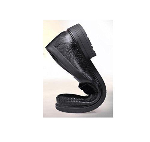 Stagione Morbido Punta Sportivi A Sandali Uomo Stivali Casual Tela in Scarpe Affari Colore Black Nastro Pelle Tondo vxUxY6q