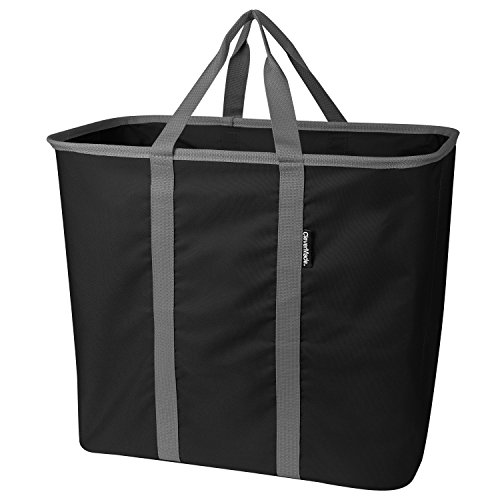CleverMade Collapsible Laundry Tote, Large Foldable Clothes Hamper Bag, LaundryCaddy CarryAll XL Pop Up Storage Basket with Handles, Black/Grey