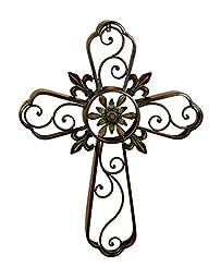 Deco 79 75790 Metal Cross Decor with Religious Blend
