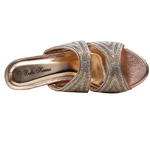 Picture of Women's Rhinestone Glitter Sparkles Open Toe Low Heeled Sandals with Memory Foam (9 B(M) US, Champagne)