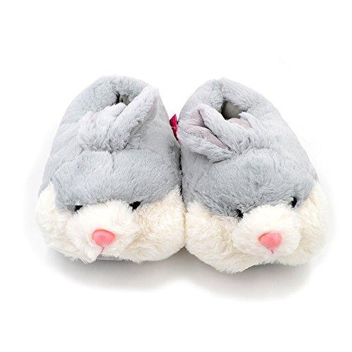 Millffy Bunny Zapatillas Para Mujer Cálidas Zapatillas Divertidas Casa Zapatos Conejo Zapatillas De Felpa Gris