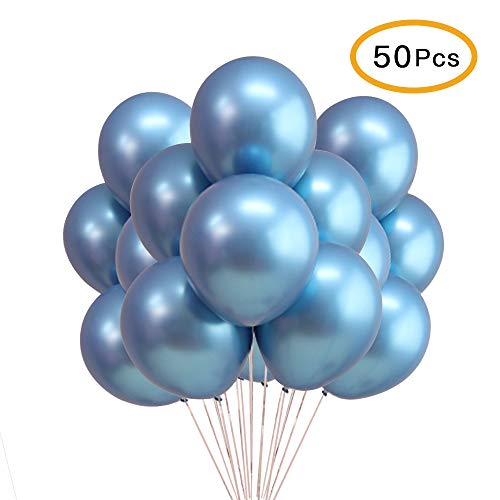 "Chrome Blue Balloons, 12"" Metallic Shiny Latex for Party Decoration Birthday Wedding Baby Shower Graduation Christmas Halloween - 50 Pcs"