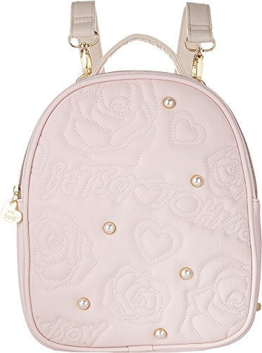 Betsey Johnson Womens Logo Rose Convertible Tote Blush One Size