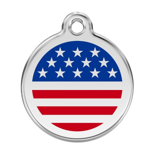 Red Dingo Custom Engraved Stainless Steel and Enamel Dog ID Tag - Stars & Stripes - Id Dog Tags Enamel