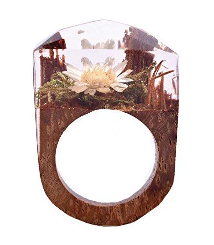 Handmade Wood Resin Rings Secret Pink Rose Flowers Inside Worlds Ring Jewelry for Women (White flower, 8)