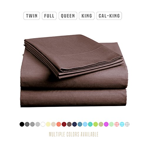 Luxe Bedding Sets - Microfiber Full Sheet Set 4 Piece Bed Sheets, Pillow Cases, Flat Sheet, Deep Pocket Fitted Sheet Set Full Size - Brown