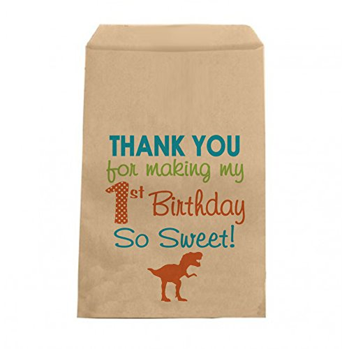 Dinosaur Birthday Candy Bags - Boys Dino Birthday Thank You Favor Bags - 6.25
