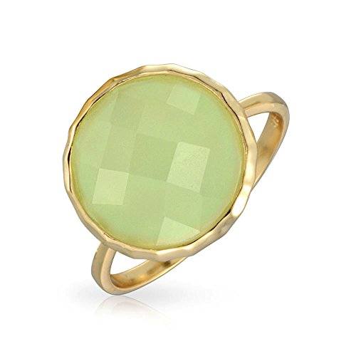 Bling Jewelry Seafoam Green Simulated Chalcedony Glass Antique Style Gold Plated 925 Silver Ring Green 9 (Glass Bezel Sea)