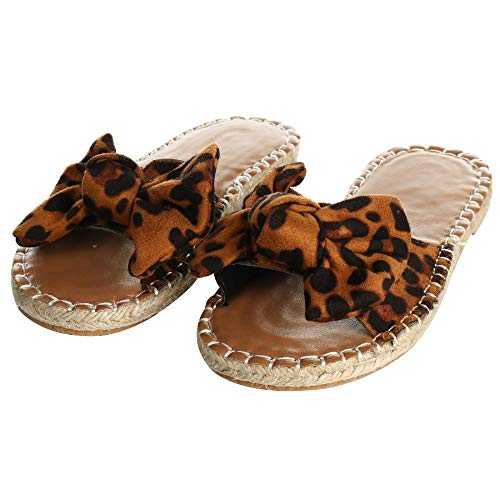 YYW Women Faux Suede Slide Sandals Open Toe Knot Bow Slip-On Flat Slide Sandal (Leopard,9 M - Bow Suede Faux