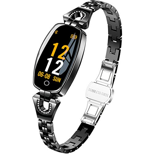 Pard New Women's Smart Watch, Delicate Heart Rate Blood Pressure Activity Fitness Tracker (H8 N Black) ()