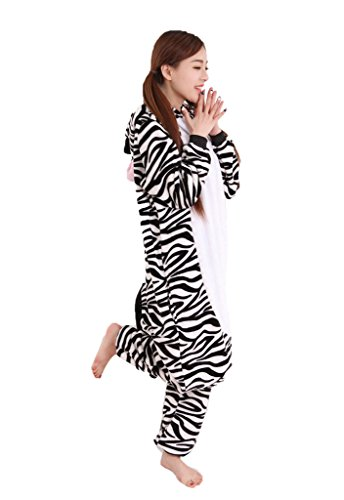 [Rosebelles Unisex Cosplay Onesies Pajamas Adults Flannel Hooded Sleepwear Zebra XL] (Customes Halloween Maternity)