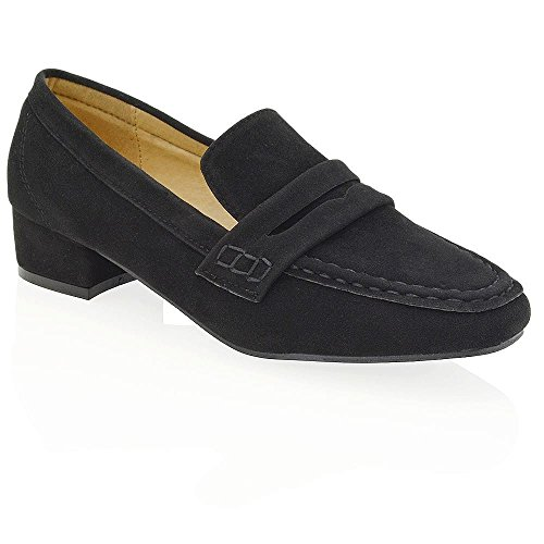 ESSEX GLAM Womens Flat Moccasins Black Faux Suede Loafers Shoes 6 B(M) - Zx5 Series