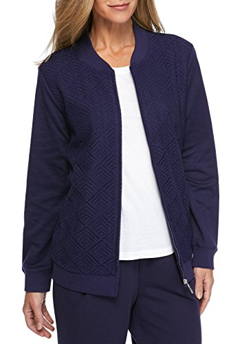 Alfred Dunner Women's Family Jewels Textured Knit Jacket, Amethyst (16) (Textured Knit Jacket)