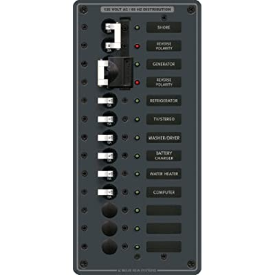 Blue Sea Systems 2 Sources AC Panel with 9 Positions by Blue Sea Systems