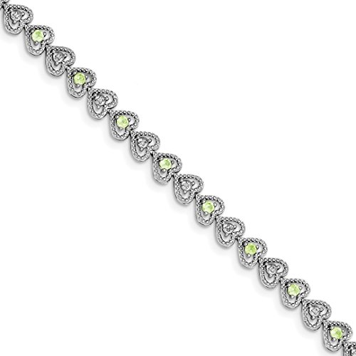 ICE CARATS 925 Sterling Silver Green Peridot Diamond Bracelet 7 Inch/love Gemstone Fine Jewelry Ideal Gifts For Women Gift Set From Heart