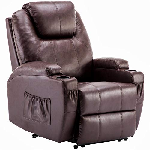 Mcombo Electric Power Recliner Chair Sofa with Massage and Heat for Living Room, 2 Positions, 2 Side Pockets and Cup Holders, Faux Leather 7050 (Dark Brown)