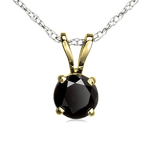 Dazzlingrock Collection 0.50 Carat (ctw) 14K Round Black Diamond Ladies Solitaire Pendant 1/2 CT, Yellow Gold