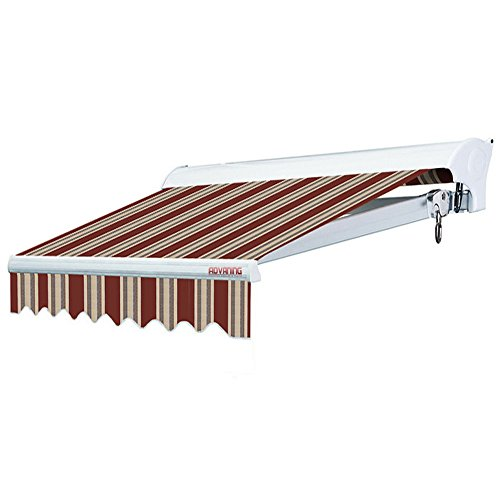 ADVANING 10'x8' Manual Patio Retractable Awning | Luxury Series | Premium Quality, 100% Solution-Dyed European Acrylic UV Sun Shade, Color: Brick Red Stripes, MA1008-A430H2