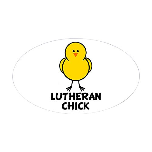(CafePress Lutheran Chick Oval Sticker Oval Bumper Sticker, Euro Oval Car Decal )