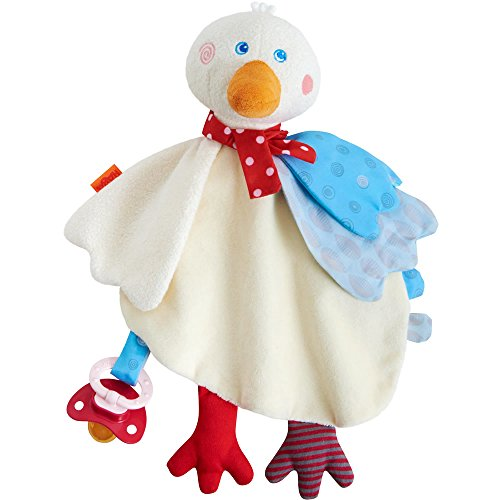 HABA Gallivanting Goose/Chick Cuddly - Soft Machine Washable Easter Lovey with Pacifier Clip ()