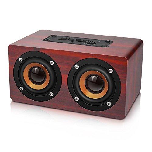 TOOGOO Retro Wooden Bluetooth Speaker HIFI Wireless Dual Loudspeakers 3D Surround Speaker, red Natural Wood Dual Track