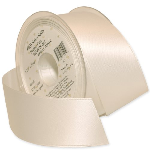 Morex Ribbon Double-Face Swiss Satin Ribbon, 1-1/2-Inch by 27-Yard Spool, Bridal White
