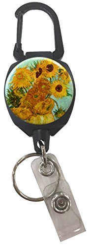 Buttonsmith Van Gogh Sunflowers Extra Heavy Duty Sidekick Retractable Badge Reel with Carabiner and Key Ring - Made in the USA, 1 Year Warranty