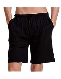 CYZ Men's Comfort Cotton Jersey Shorts with Pockets-Black-XL