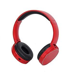 Tchin Auriculares inalámbricos con Bluetooth Dual Ear Estéreo Ligero 4.2 Auriculares para computadora Mini Auriculares Bluetooth Plegables (Color : Red)