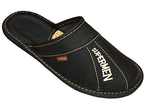 BeComfy - Zapatillas de estar por casa de Piel para hombre negro