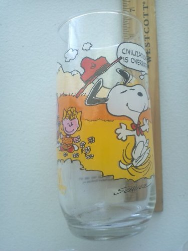 Vintage Snoopy Peanuts (Vintage McDonald's Camp Snoopy Peanuts Collection Glass CIVILIZATION IS OVERRATED!)