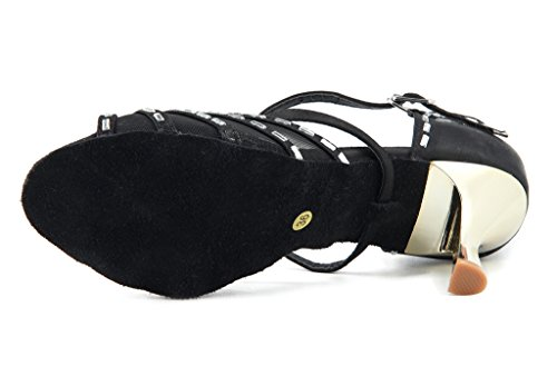 Meijili Womens up Leather Glitter Sequins Latin Ballrom Dance Shoes High Heel Wedding Evening Shoes Black -2 CO0fDuAUf