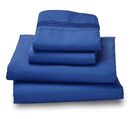 Where The Polka Dots Roam Microfiber Easy Care Luxury Sheet Set, Queen, Indigo ()