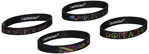 Amscan Groovy Neon Rubber Bracelet Birthday Party Accessory Favors (4 Pack), 2'' x 1 3/4'', Multicolor by Amscan