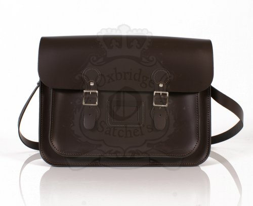 Leather Satchel's , Borsa Messenger  unisex adulto Marrone Tenné 38 cm