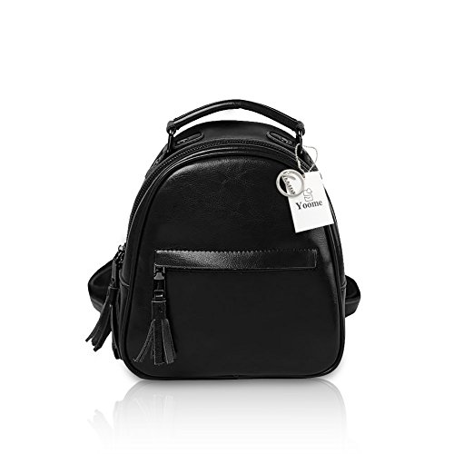 Yoome Mujeres Mini Stachel Vintage Mochila Bolso Borlas Bolso Tote Bag para Niñas Azul Real Negro