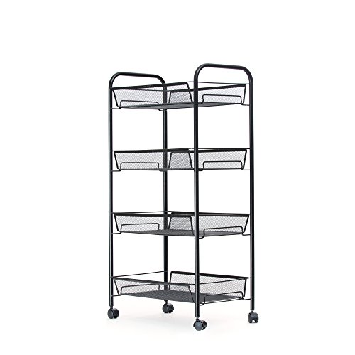 Mind Reader Metal 4 Tier all-Purpose Utility Cart, Black by Mind Reader