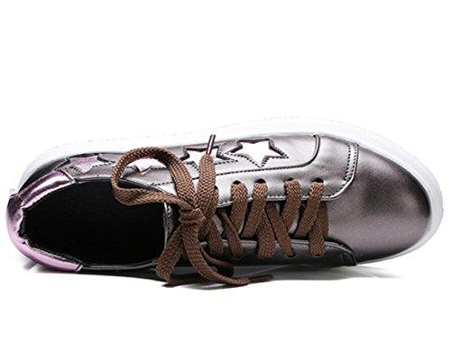 CSDM Scarpe Sport Donna Scarpe Scarpe Pelle Piene Strip Leggere Piccole Scarpe Bianche , gun color , 37