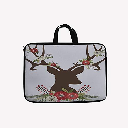 3D Printed Double Zipper Laptop Bag,Design Reindeer Silhouette