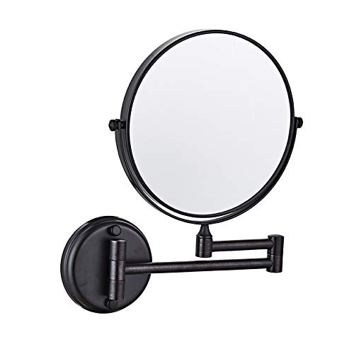 Aokako Mirror Folding Makeup Wall Mounted with 5X Magnification, Matte Black Double -