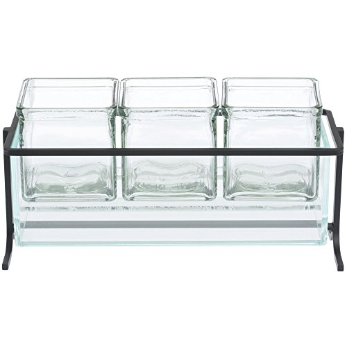 Cal Mil Wire - Cal-Mil Black Wire Frame with Glass Jars Condiment Holder - 13 1/4