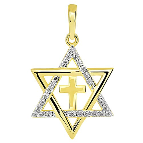 14k Yellow Gold CZ Star of David with Religious Cross Judeo Christian Pendant (Small) (Gold Pendant White Jewish Religious)